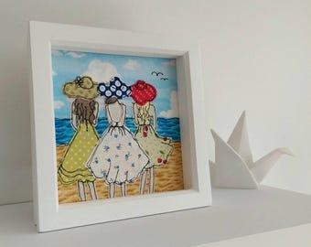 A Day At The Beach. Freemotion machine embroidery by Lillyblossom. Best friends dresses & sun hats ocean vacation sisters girls day