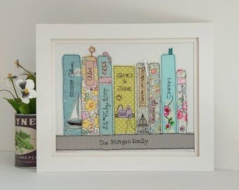 The Book Shelf a personalised freehand Embroidered family portrait with a difference. Names, colours and book titles can be customised.