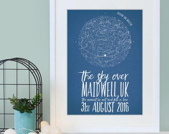 Star Chart - Anniversary Present - Engagement Gift - Wedding Gift -  Personalised Print - Astronomy Lover - Geek Gift - Romantic Gifts