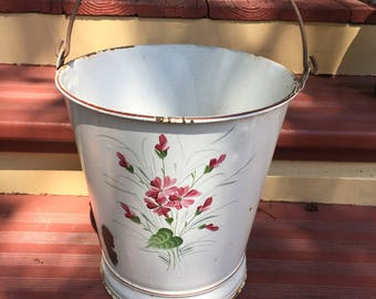 Large french enamel bucket for flowers