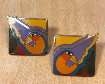 LAUREL Burch Paradise Birds Earrings/ Gorgeous SHA BIRD Laurel Burch Earrings /Enameled Earrings/Orange, Yellow, Blue, & Purple with Gold