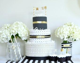 Gold Black Baby Shower Decor, Gold Black Cake, Diaper Cake, Gold Black Baby Gift, Baby Shower Centerpiece, Baby Shower Gift, Diaper Cake