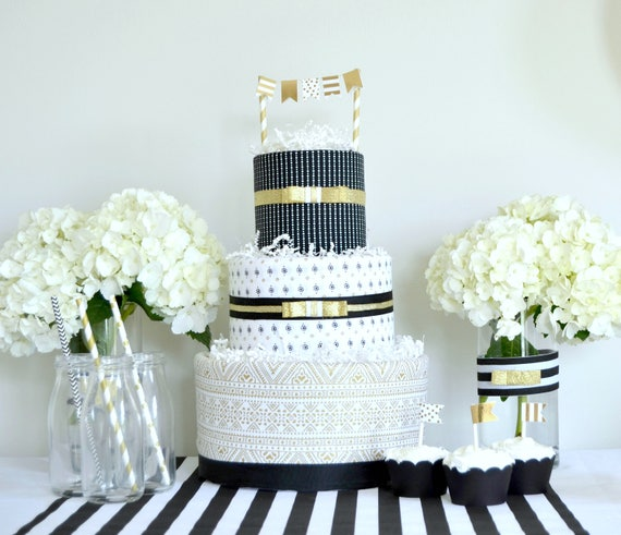 Gold Black Baby Shower Decor, Gold Black Cake, Diaper Cake, Gold Black Baby Gift, Baby Shower Centerpiece, Baby Shower Gift, Diaper Cake