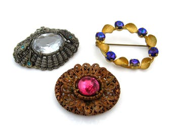 Vintage Rhinestone Brooch Lot | Small Pins, Wear, Repair, Repurpose, Destash | Old Jewelry Lot