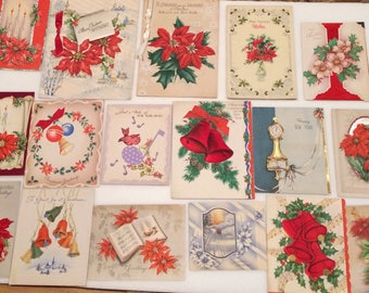 Lot of 17 Vintage 40s 50s Christmas Cards New Years Fancy Oversize