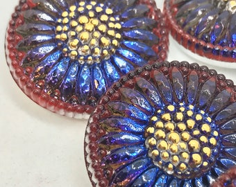 Large FUCHSIA COBALT Czech Glass Daisy Button, 27mm Czech Glass Button, 27mm Button, Daisy Button, Czech Glass Daisy, Czech Glass Buttons,