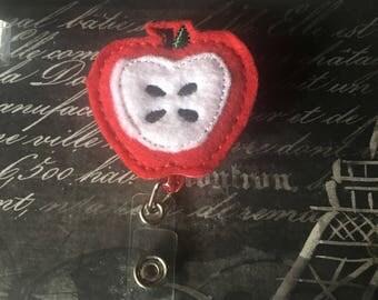 Retractable ID Badge Reel Holder, Work Accessories, Apple, Retractable I.D Badge holder, Ready to Ship, Rts, Teacher Gift, Nurse