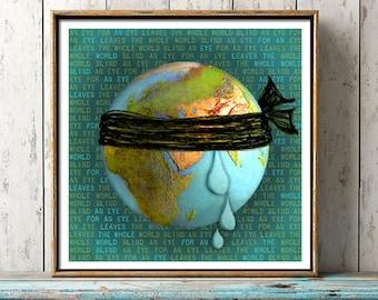 An Eye For An Eye, Gandhi quote print, dorm poster, anti war, world peace, political statement, satire, nonviolence, world war, golden rule
