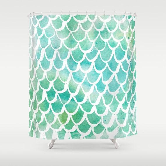 Mermaid Shower Curtain - Green Shower Curtain - Watercolor Shower Curtain - Shower Curtain - Scallop Shower Curtain - Aqua and White