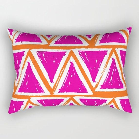 Magenta Lumbar Pillow - Toddler Pillow - Geometric Pillow - Orange Bed Pillow - Rectangle Throw Pillow - Triangle Pillow - Travel Pillow