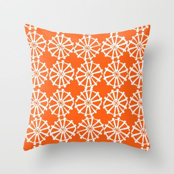 OUTDOOR Throw Pillow . Orange Outdoor Pillow . Orange patio cushion . Modern Geometric Pillow Wheel . 16 18 20 inch . Lumbar Pillow