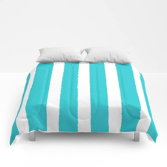 Aquamarine and White Stripe Comforter - Twin Comforter - Queen Comforter - King Comforter - Full Comforter - Twin Comforter Twin XL Bedding