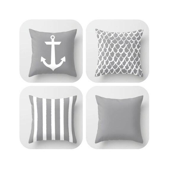 OUTDOOR Throw Pillow . Grey Throw Pillow . Mermaid Pillow . Coastal Patio Cushion . Anchor Pillow . Stripe Pillow  16 18 20 inch Lumbar