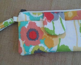 Zipper Wristlet with exterior pocket--In Your Choice of Fabric
