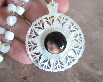 Vintage Star of Bethlehem carved Mother of Pearl with Black Mother of Pearl center Necklace