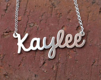 Name Necklace, Custom Name Necklace, Handwritten Name Necklace, Personalized Necklace Double Thick Sterling Silver (ah01)