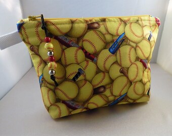 Softball Makeup Bag Yellow Wristlet Makeup Bag Cosmetic Travel Bag Organizer Bag Cute