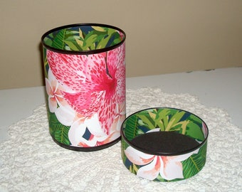 Exotic Floral Desk Accessories - Tropical Flower Pencil Holder - Pencil Cup - Office Organization - Pink Floral Office Decor - 961