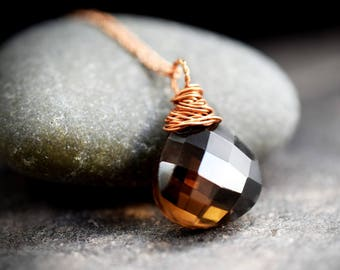 925 rose gold plated necklace with Smoky Quartz