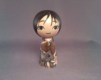 Cavegirl with mammoth Wooden Handpainted Kokeshi Doll