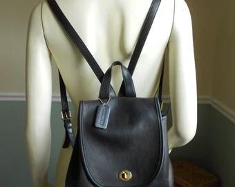 Coach Black Leather Backpack  / Coach Knapsack Bag