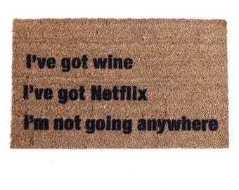 Netflix wine cookies- I'm home Door Mat housewarming hostess gift  eco friendly