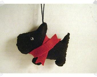 Black Scottish Terrier Ornament/ Made of Felt/Handmade */ MADE to Order**