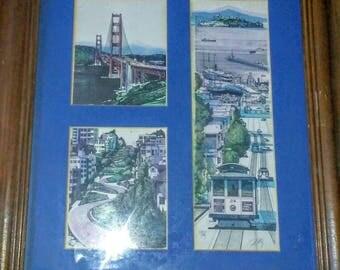 Vintage Signed Martun Tang Ink Drawings Framed- San Francisco Bridge, Streetcar