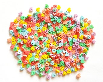 200 pcs Tiny Heart Buttons size 4 mm Mix mint light blue yellow pastel red lilac