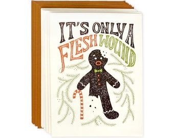 Funny Holiday Card Set of 8 - Flesh Wound