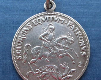 Antique Saint George Religious Medal Slaying The Dragon Catholic Pendent Jewelry  SS288