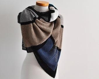 BRIENNE, Crochet shawl pattern, pdf