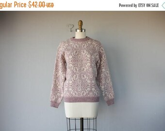 48 HR FLASH SALE Vintage Wool Pullover | 80s Sweater | Pink Sweater | Shetland Wool Sweater | 1980s Intarsia Sweater