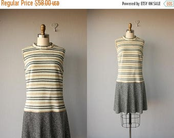 48 HR FLASH SALE Vintage Mod Dress |  1960s Dress | 60s Dress | Striped 1960s Dress | Metallic Drop Waist Dress