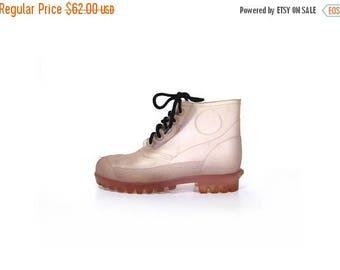 BTS SALE Vintage 90s Transparent Jelly Lace Up Ankle Boots women 6.5 men 5 rubber boots rain boots unisex vestiesteam grunge hip hop hipter