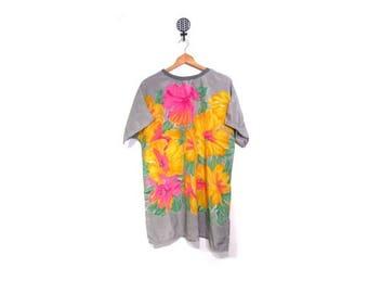 30% OFF Vintage 80s Oversized Floral tunic Blouse women m l xl vestiesteam retro beachwear Hawaii indie hipster mini dress