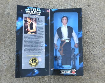 """Han Solo Star Wars Doll, Action Figure, A New Hope, Force Awakens, 12"""" Star Wars Action Figure, Star Wars Toy in Original Box, Harrison Ford"""