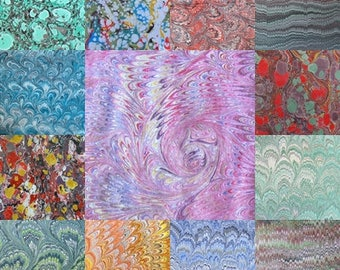 13  marbled paper, bookbinding,  cm 50 x 70,  marmorpapier- 112k