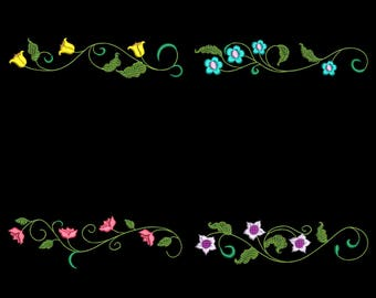 SIMPLE FLOWER BORDERS (6inch) - 10 Machine Embroidery Designs Instant Download 6X10 hoop (AzEB)