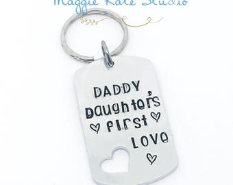 Hand Stamped Dad Keychain - Father's Day - Hand Stamp - Stepdad - Daddy - Love - Hero - Dad Gift