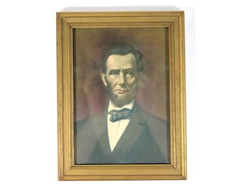 Vintage Colorized Abraham Lincoln Print in Frame