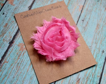 Shabby Bubblegum Pink Flower Hair Clip