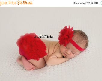SALE BLOOMER and HEADBAND, Red Baby Bloomer and Headband, red lace headband , red bloomers, newborn , infant, baby girl set , flower headban