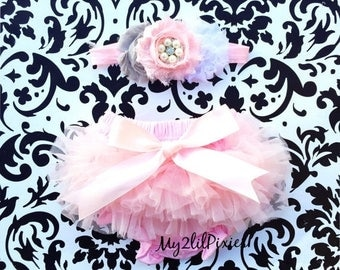SALE Baby Girl Set- BABY BLOOMERS and Headband set- Baby Bloomers, Diaper Cover, newborn photo prop, baby girl bloomers , Chiffon Bloomers