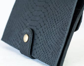 SALE Black leather bifold wallet with snakeskin print, phone wallet bifold womens large leather phone wallet minimalist - Iole Wallet