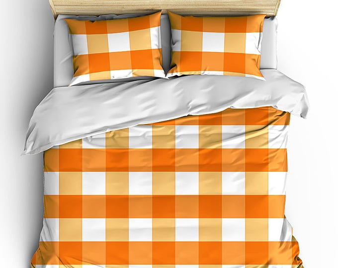 Boy's Bedding Set, Duvet Cover, Matching Bed Set, Bedroom Decor, Grad Gift, Gingham Check Duvet, Boy's Modern Room Decor, masculine bedding