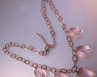 SHIPS 6/26 w/FREE Jewelry Vintage Pink Faceted Glass Drop Sterling Silver Chain Necklace Jewelry Jewellery