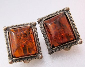 XMAS in JULY SALE Vintage Genuine Baltic Honey Amber Sterling Silver Earrings Clip On Jewelry Jewellery
