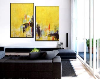 Set of 2 Yellow Original Abstract Paintings Art Large Diptych Paintings Contemporary Art Oil Painting Two Piece Wall Art - Sky Whitman