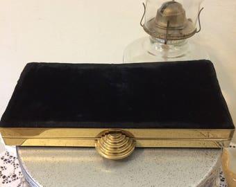 Vintage 50s Stunning  Black Velvet and Gold  Deco Look Bag Ladies Clutch Evening Bag